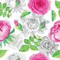Seamless Background With Pink Roses Royalty Free Stock Photos - 52225558