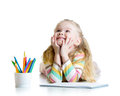 Dreamy Kid Girl With Color Pencils Royalty Free Stock Photos - 52237728