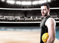 Volleyball Player On Black Uniform On Volleyball Court Royalty Free Stock Image - 52245676