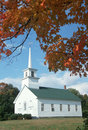 Union Meeting House In Autumn On Scenic Route 100, Stowe, Burke Hollow, Vermont Stock Photos - 52246253