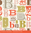 Seamless Vintage Pattern Of The Letter B In Retro Colors Stock Photography - 52267132