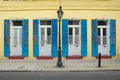 Blue Shutter And Lamp Post In French Quarter Near Bourbon Street In New Orleans, Louisiana Stock Images - 52268294