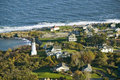 Aerial View Of Two Lights Lighthouse On The Oceanfront In Cape Elizabeth, Maine Coastline South Of Portland Stock Photography - 52268882