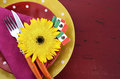 Cinco De Mayo Bright Colorful Party Table Place Setting Royalty Free Stock Images - 52272429