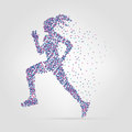 Running Girl From Circles. Vector Illustration. Modern Royalty Free Stock Image - 52278146
