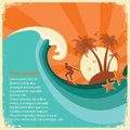 Surfer And Sea Big Wave Tropical Island On Old Paper Royalty Free Stock Photo - 52285125