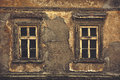 Old Windows On Ruined House Exterior Wall Stock Photography - 52285252