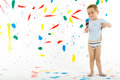 Adorable 3 Year Old Boy Child Creatively Stains On The Wall. Stock Photo - 52285550