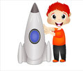 Little Boy Playing With His Rocket Toys Royalty Free Stock Photo - 52290445