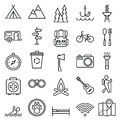 Big Set Linear Icon Camping And Tourism Royalty Free Stock Photography - 52304787