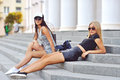 Two Sexy Girlfriends Outdoor Fashion Portrait Stock Images - 52308694
