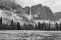 Black And White Of Rugged Mountains And A Waterfall Stock Photo - 52313460