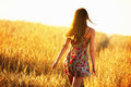 Young Woman Walking In Wheat Field Royalty Free Stock Photo - 52334715