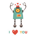 Colorful Robot In Love Character Stock Photography - 52334802