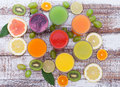 Glasses Of Tasty Fresh Juice, On Wooden Desk. Royalty Free Stock Photography - 52335367