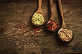 Spices In Wooden Spoons Stock Photos - 52343143