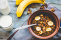 Granola With Bananas, Nuts, Figs And Honey, Milk, Healthy Breakf Stock Image - 52350421