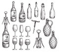 Set Of Wine Bottles, Glasses And Corkscrews Royalty Free Stock Photos - 52352848