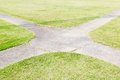 Concrete Pathway And Green Grass At Park Stock Image - 52358531