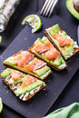 Sandwich With Avocado And Smoked Salmon Royalty Free Stock Photography - 52373287