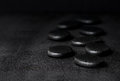 Spa Concept Of Zen Basalt Stones With Water Drops On Black Backg Stock Photography - 52374082