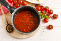 Red Sauce Made Of Dried Tomatoes On Frying Pan. Royalty Free Stock Photos - 52378098