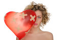 Balloon In Shape Of Heart And Hurt Woman Royalty Free Stock Photography - 52384607