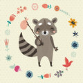 Background With Funny Raccoon Flower And Birds Royalty Free Stock Photos - 52391638