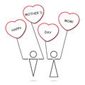 Boy And Girl And Heart Balloons With Text Stock Image - 52393451