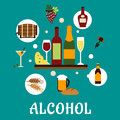 Flat Alcohol Drinks With Snacks Stock Photo - 52397100
