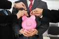 Businesspeople Hands With Coins And Piggybank Stock Photo - 52415980