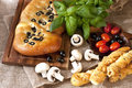Focaccia With Black Olives Stock Photos - 52426633