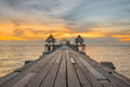 Landscape Of Wooded Bridge Pier Between Sunset. Summer Travel In Royalty Free Stock Photo - 52443755