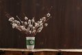 Bunch Of Pussy Willow Twigs In Green Vase On Wooden Background Stock Photo - 52467420
