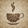 Coffee Cup On Seamless Background With Coffee Beans. Royalty Free Stock Photography - 52472137