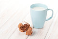 Cup Of Milk And Cake Royalty Free Stock Photography - 52475537