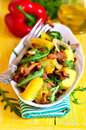 Warm Salad From Potato And Mushrooms With Arugula. Stock Photography - 52485042