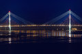 Night View For The Bridge To The Russky Island In Vladivostok Royalty Free Stock Photos - 52494998