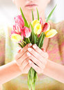 Beautiful Hands With Bunch Of Tulips Stock Image - 5257411