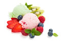 Ice Cream With Mint Leaves And Ripe Berries Royalty Free Stock Photography - 52502087