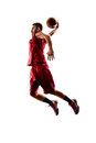 Isolated Basketball Player In Action Is Flying Royalty Free Stock Images - 52506379