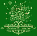 Card With Decorative Christmas Tree Royalty Free Stock Photo - 52516025