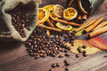 Dry Orange And Lemon, Coffee Beans In The Bag, Cinnamon And Fallen Autumn Leaves Stock Image - 52519431