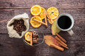 Dry Orange And Lemon, Coffee Beans In The Bag, Cinnamon And Fallen Autumn Leaves Stock Image - 52519481