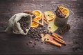Dry Orange And Lemon, Coffee Beans In The Bag, Cinnamon And Fallen Autumn Leaves Stock Photos - 52519493