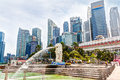 HDR Rendering Of Singapore Merlion Park At Central Business Dist Stock Images - 52532264