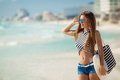 Portrait Of Sexy Girl With Beach Bag On The Beach. Royalty Free Stock Photography - 52551087