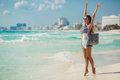 Portrait Of Sexy Girl With Beach Bag On The Beach. Royalty Free Stock Images - 52551119