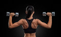 Fitness Woman In Training Muscles Of The Back With Dumbbells Stock Images - 52578004