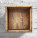 Wooden Box On White Wood Background Royalty Free Stock Photography - 52580097
